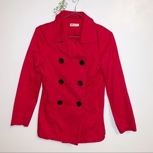 H&M Six Button Red Peacoat